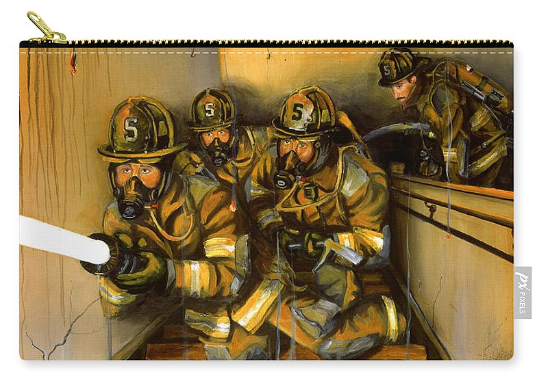 Fire Fighting Carry-all Pouch featuring the painting Goin' To Work by Paul Walsh