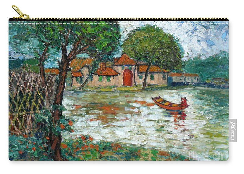 Boat Carry-all Pouch featuring the painting Going Home by Meihua Lu
