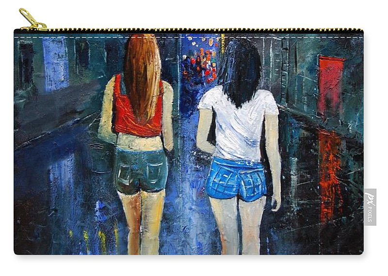 Girl Carry-all Pouch featuring the painting Going Out Tonight by Pol Ledent