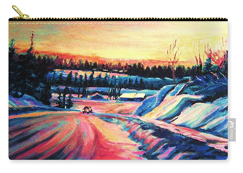Winterscene Carry-all Pouch featuring the painting Going Places by Carole Spandau