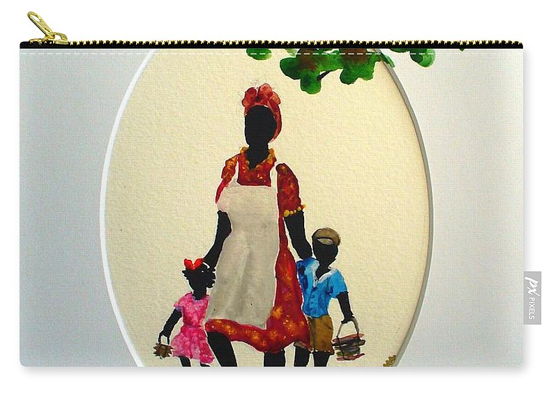 Caribbean Children Carry-all Pouch featuring the painting Going to school by Karin Dawn Kelshall- Best