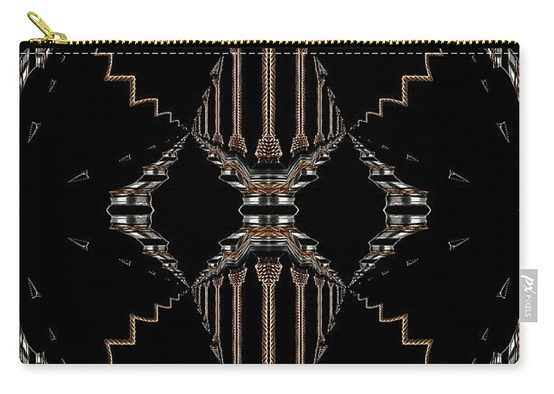 Gold Abstract Carry-all Pouch featuring the digital art Gold And Black With Silver Design Abstract by Sheila Mcdonald