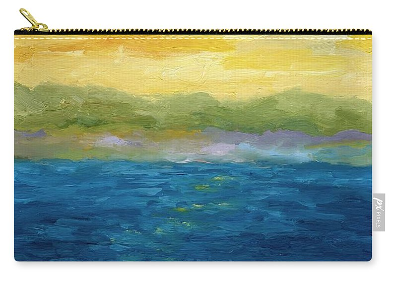 Lake Carry-all Pouch featuring the painting Gold And Pink Sunset by Michelle Calkins