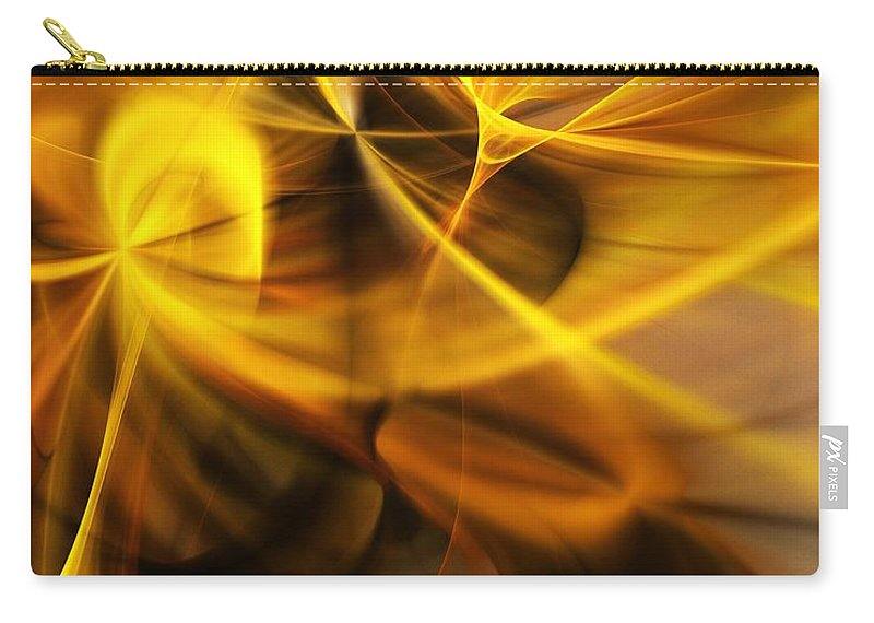 Fractal Carry-all Pouch featuring the digital art Gold and Shadows by David Lane