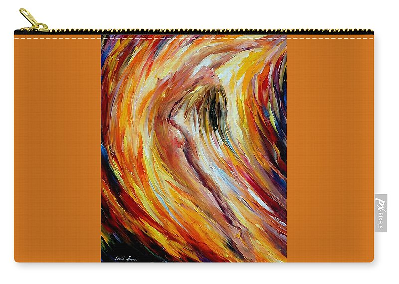 Nude Carry-all Pouch featuring the painting Gold Falls by Leonid Afremov