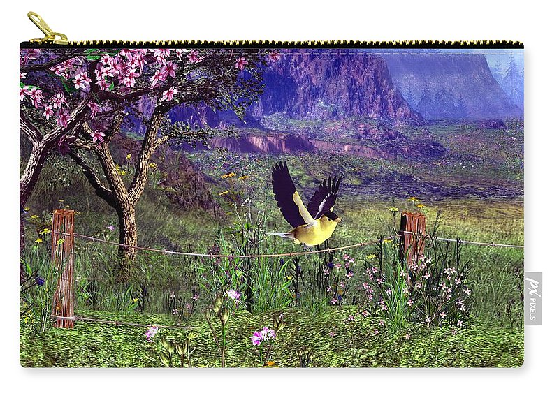 Birds Carry-all Pouch featuring the digital art Gold Finch In The Spring Time by John Junek