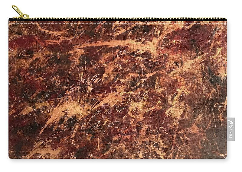 John Cammarano Abstract Gold Metallic Acrylic Carry-all Pouch featuring the painting Gold Finger by John Cammarano