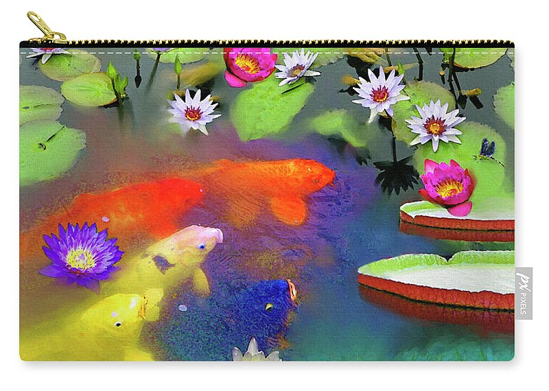 Gold Fish Carry-all Pouch featuring the painting Gold Fish And Water Lily Pads by Susanna Katherine