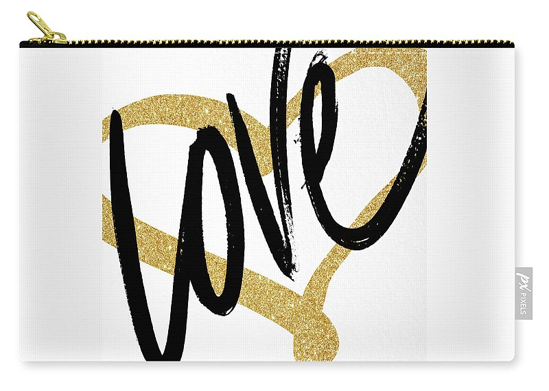Gold Carry-all Pouch featuring the painting Gold Heart Black Script Love by South Social Studio