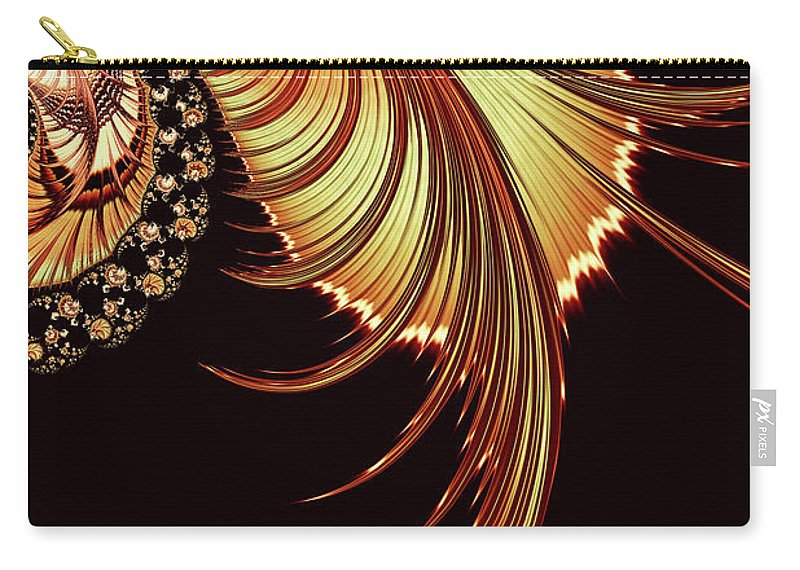 Gold Leaf Abstract Carry-all Pouch featuring the digital art Gold Leaf Abstract by Georgiana Romanovna
