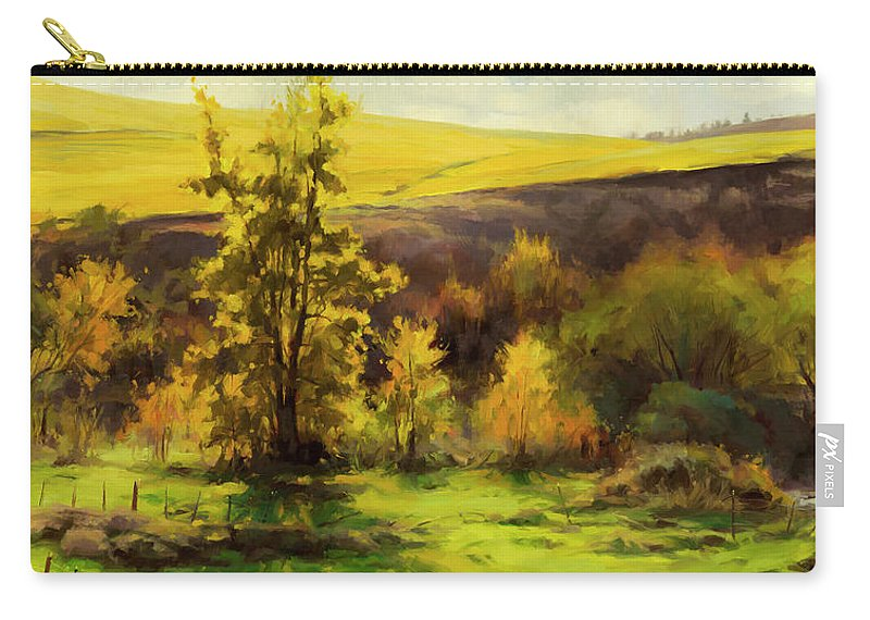 Landscape Carry-all Pouch featuring the painting Gold Leaf by Steve Henderson