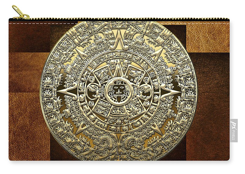 'treasures Of Mesoamerica' Collection By Serge Averbukh Carry-all Pouch featuring the digital art Gold Mayan-aztec Calendar On Brown Leather by Serge Averbukh