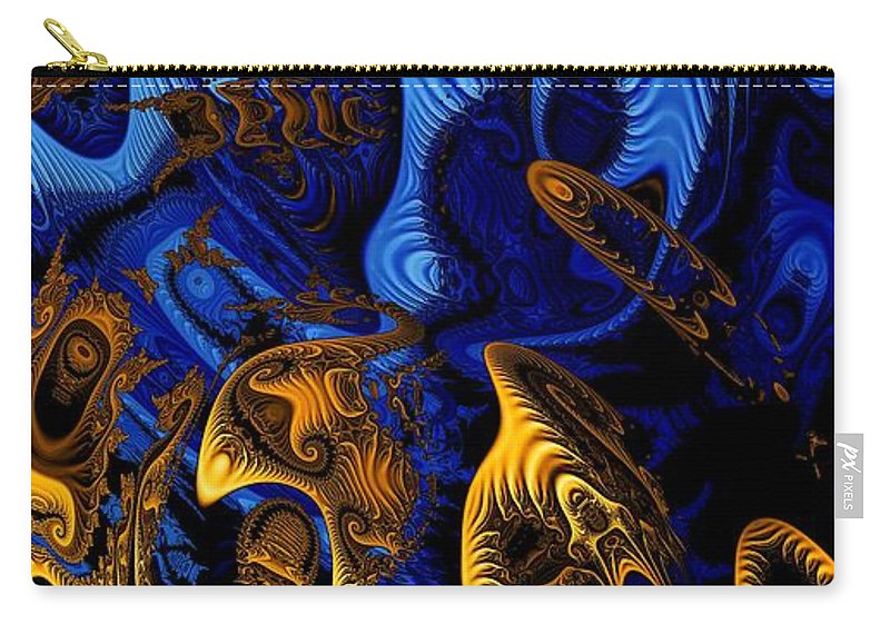 Fractal Art Carry-all Pouch featuring the digital art Gold On Blue by Ron Bissett