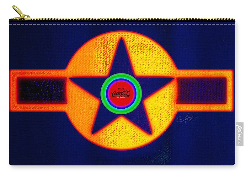 Usaaf Carry-all Pouch featuring the painting Gold On Blue With Cola by Charles Stuart