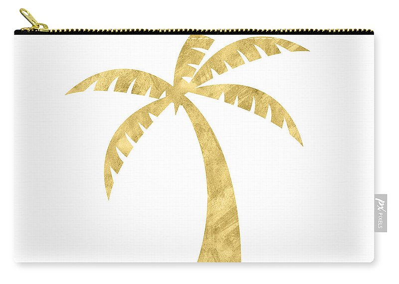 Palm Tree Carry-all Pouch featuring the mixed media Gold Palm Tree- Art by Linda Woods by Linda Woods