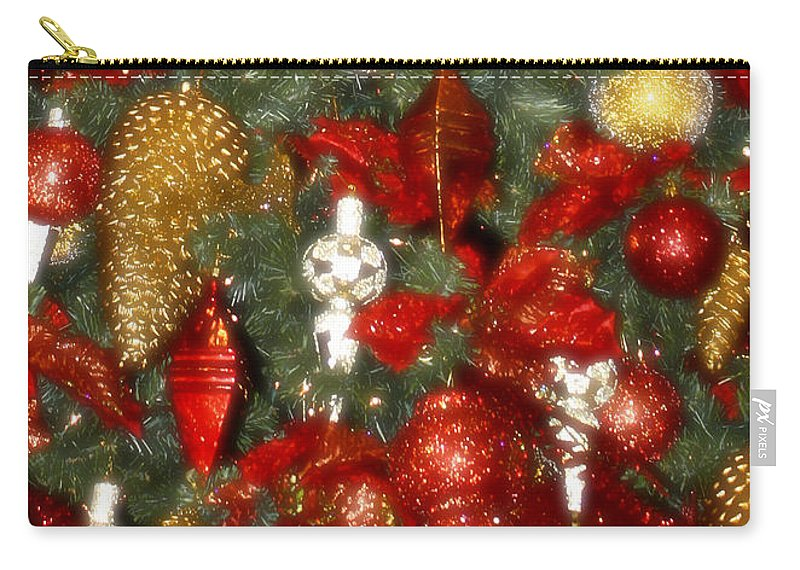 Christmas Carry-all Pouch featuring the photograph Gold Pinecone Tree Detail Fashions For Evergreens Hotel Roanoke 2009 by Teresa Mucha