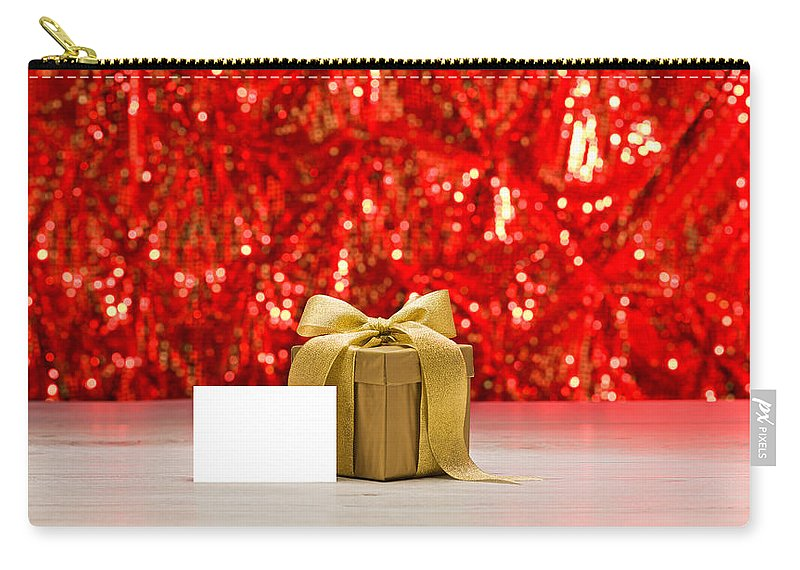 Advent Carry-all Pouch featuring the photograph Gold Present With Place Card by U Schade