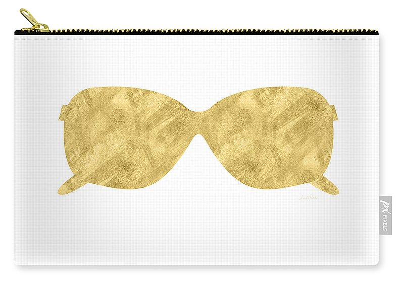 Sunglasses Carry-all Pouch featuring the mixed media Gold Shades- Art By Linda Woods by Linda Woods