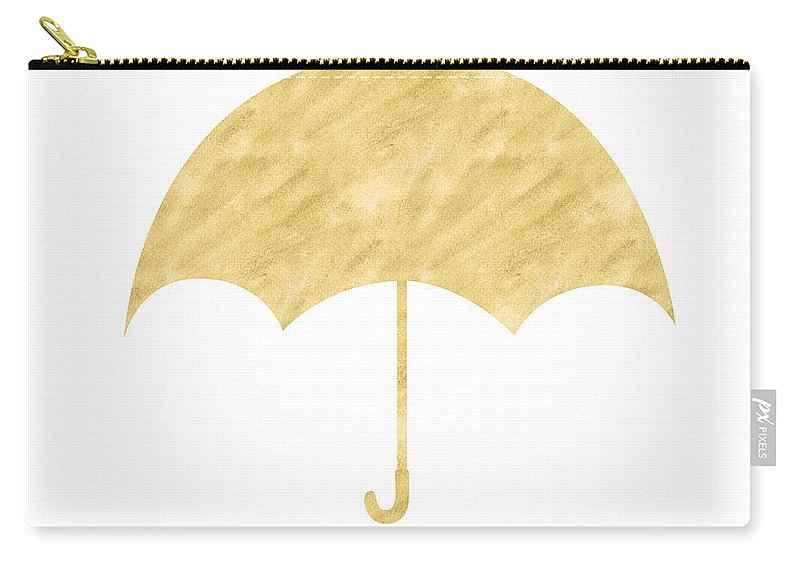 Umbrella Carry-all Pouch featuring the mixed media Gold Umbrella- Art by Linda Woods by Linda Woods