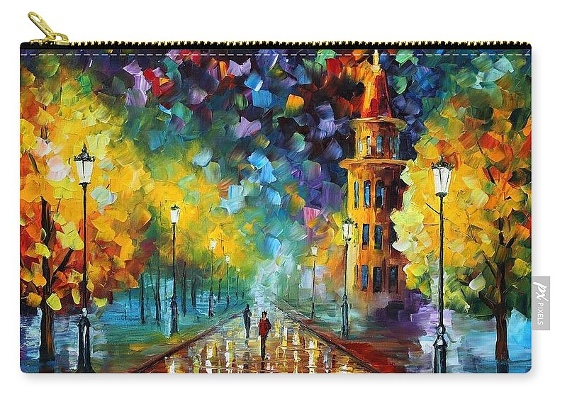 Afremov Carry-all Pouch featuring the painting Gold Winter by Leonid Afremov