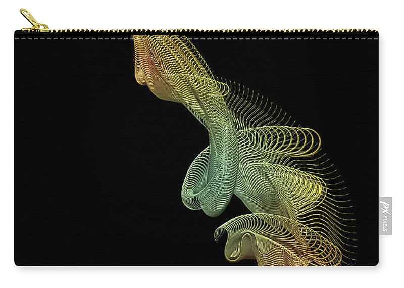 Gold Carry-all Pouch featuring the digital art Gold Wire Abstract by Ann Garrett