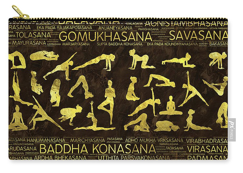 Yoga Pattern Carry-all Pouch featuring the digital art Gold Yoga Asanas / Poses Sanskrit Word Art by Creativemotions