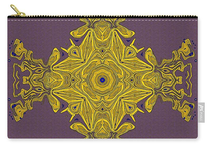 Kaleidoscope Carry-all Pouch featuring the digital art Golden Artifact by Joy McKenzie