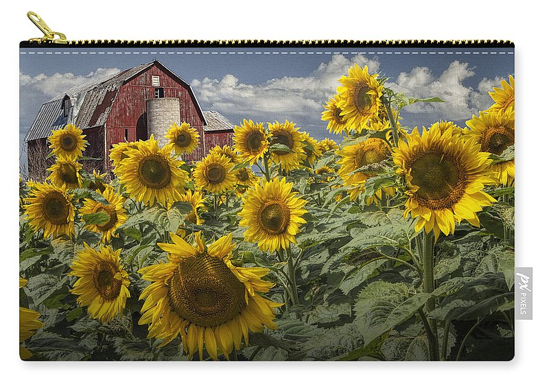 Sunflower Carry-all Pouch featuring the photograph Golden Blooming Sunflowers With Red Barn by Randall Nyhof