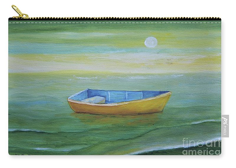 Puerto Rico Painting Carry-all Pouch featuring the painting Golden Boat In The Green Lagoon by Alicia Maury