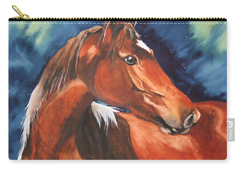 Horse Carry-all Pouch featuring the painting Golden Boy by Jean Blackmer