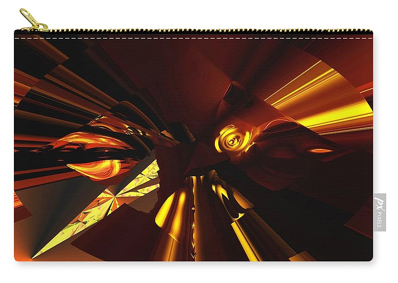Abstract Carry-all Pouch featuring the digital art Golden Brown Abstract by David Lane