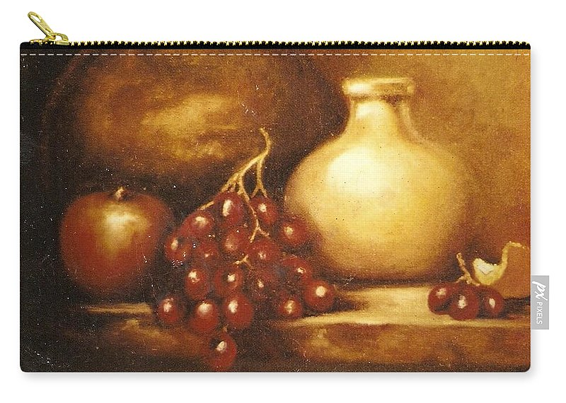 Still Life Carry-all Pouch featuring the painting Golden Carafe by Jordana Sands