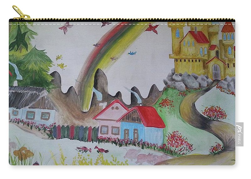 Castle Carry-all Pouch featuring the painting Golden Castle by Judit Szalanczi