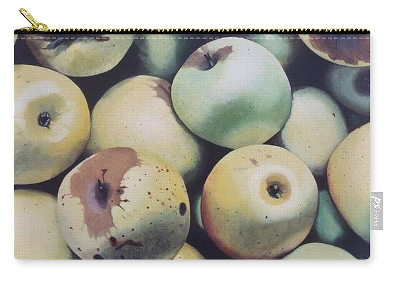 Hyperrealism Carry-all Pouch featuring the painting Golden Delicious by Michael Earney