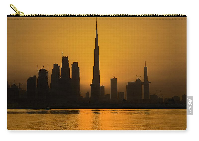 Dubai Carry-all Pouch featuring the photograph Golden Dubai by Fayez Alnaqbi