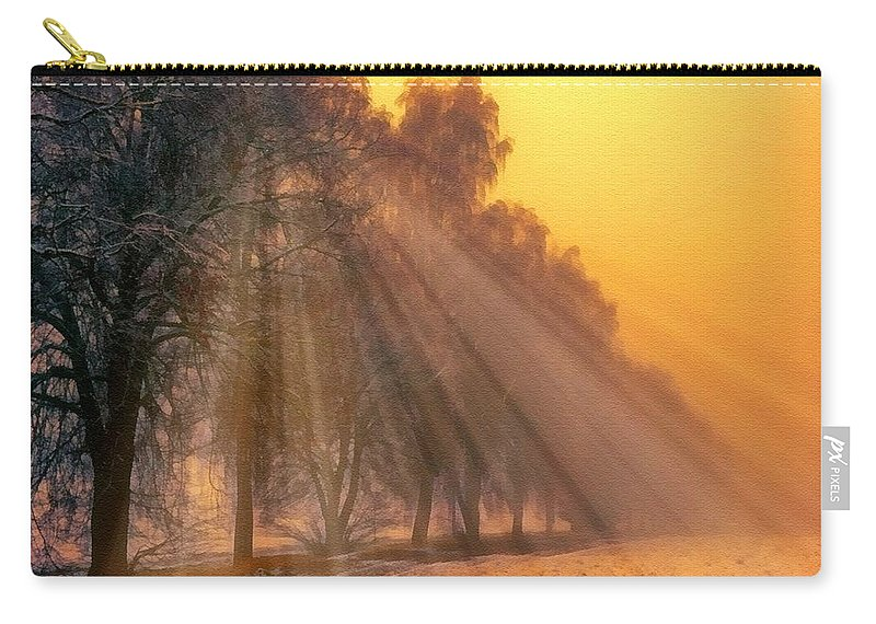 Catholic Carry-all Pouch featuring the digital art Golden Early Morning Sun Rays On The Farm Chesterhurst L B by Gert J Rheeders