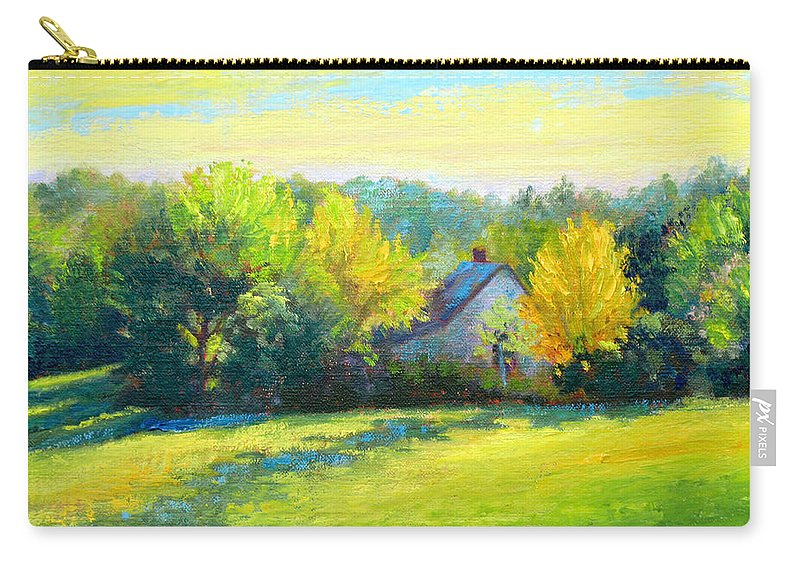 Landscape Carry-all Pouch featuring the painting Golden Evening by Keith Burgess