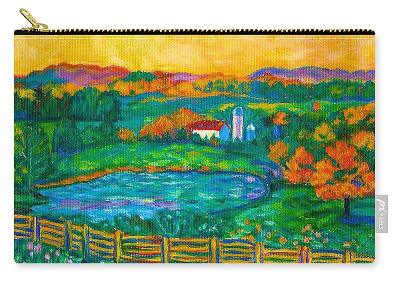 Landscape Carry-all Pouch featuring the painting Golden Farm Scene Sketch by Kendall Kessler