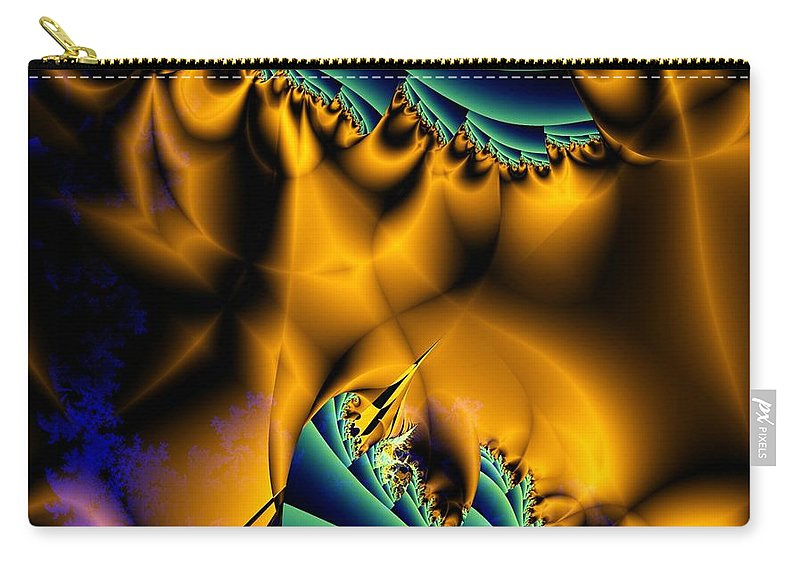 Fractal Image Carry-all Pouch featuring the digital art Golden Flag by Ron Bissett