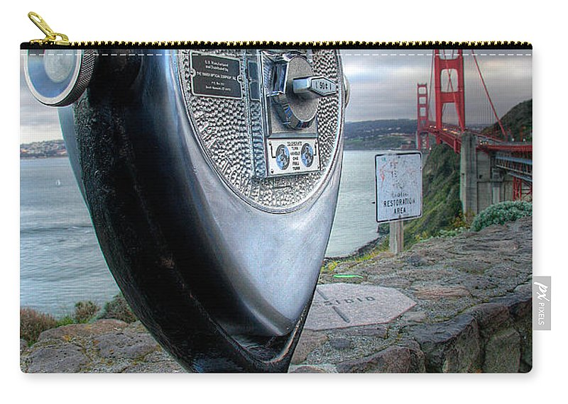 California Carry-all Pouch featuring the photograph Golden Gate Binoculars by Peter Tellone