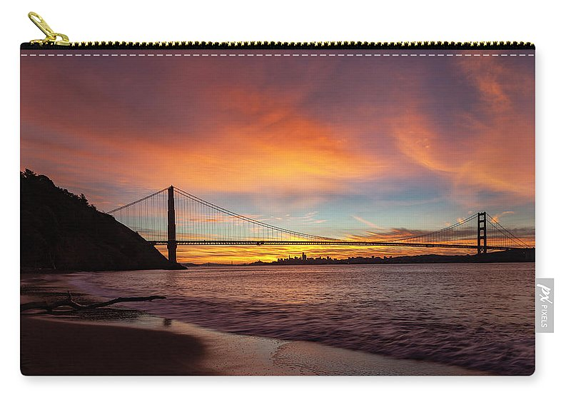 Golden Gate Bridge Carry-all Pouch featuring the photograph Golden Gate Bridge At Dawn by Rick Pisio