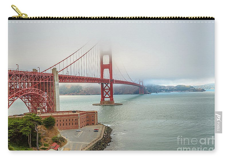 Golden Gate Bridge Carry-all Pouch featuring the photograph Golden Gate Bridge Fort Point by Benny Marty