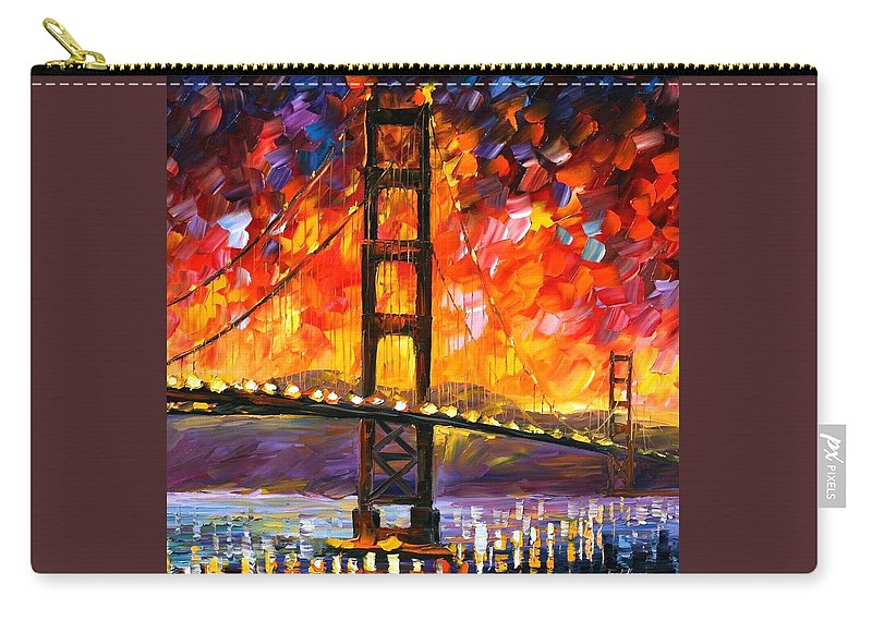 City Carry-all Pouch featuring the painting Golden Gate Bridge by Leonid Afremov
