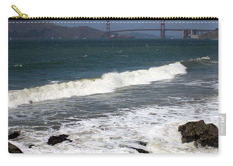 San Francisco Carry-all Pouch featuring the photograph Golden Gate Bridge With Surf by Carol Groenen