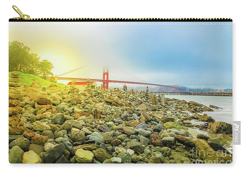 Golden Gate Bridge Carry-all Pouch featuring the photograph Golden Gate Stone Sculptures by Benny Marty