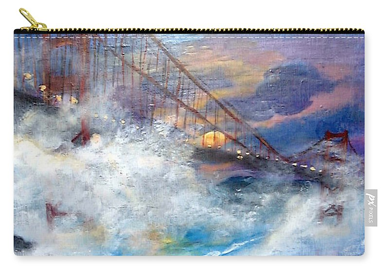 Golden Gate Carry-all Pouch featuring the painting Golden Gate Sunset by Travis Day