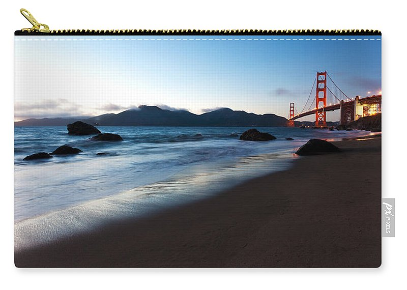 Golden Gate Carry-all Pouch featuring the photograph Golden Gate Tranquility by Mike Reid