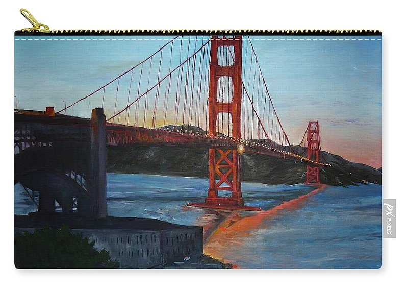 San Francisco Carry-all Pouch featuring the painting Golden Gate by Travis Day