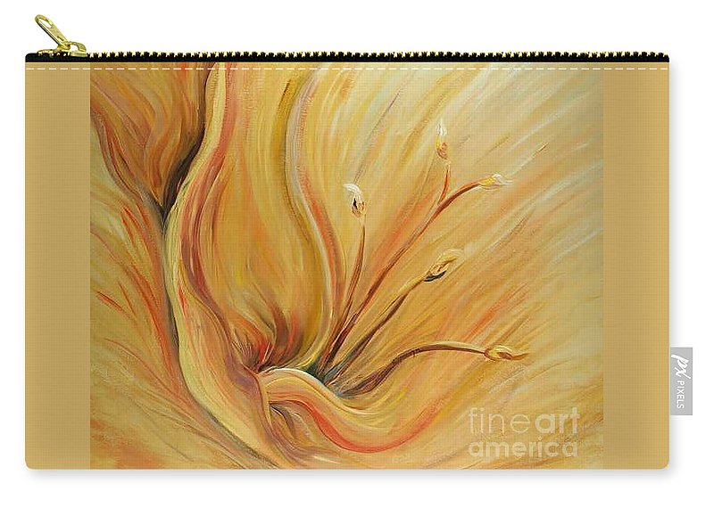 Gold Carry-all Pouch featuring the painting Golden Glow by Nadine Rippelmeyer