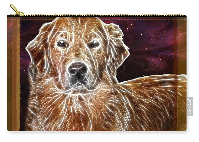 Dog Carry-all Pouch featuring the photograph Golden Glowing Retriever by Ericamaxine Price